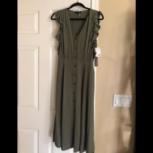 Olive green mid length dress